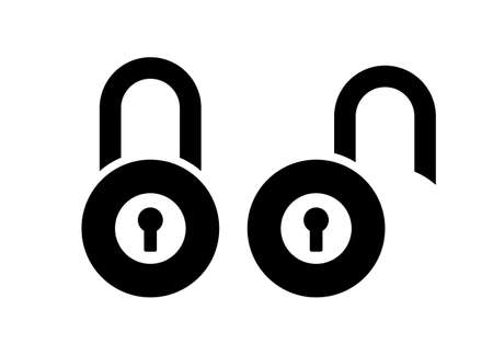Open closed padlock vector sign isolated on white background