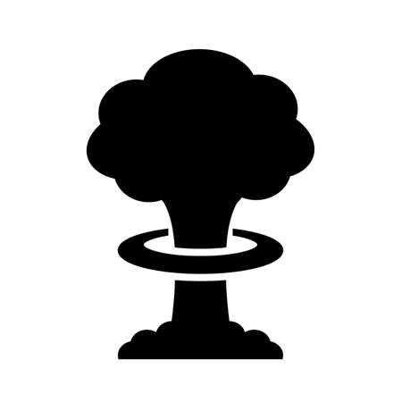 Nuclear bomb explosion vector icon isolated on white background