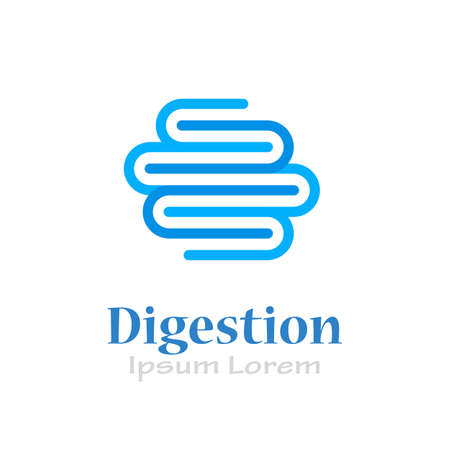 Intestine digestion vector logo isolated on white background