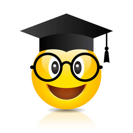 Nerd emoji with graduation hat isolated on white background Stock fotó - 121512467