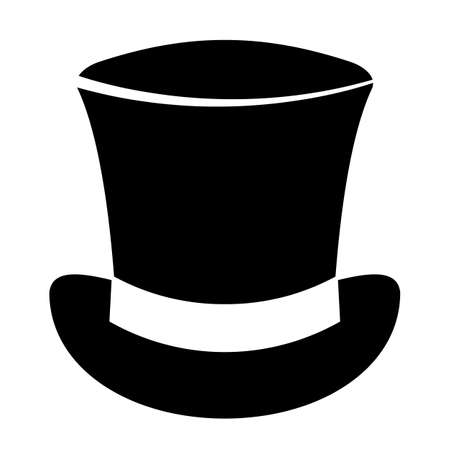 Retro top hat vector icon isolated on white background Illustration