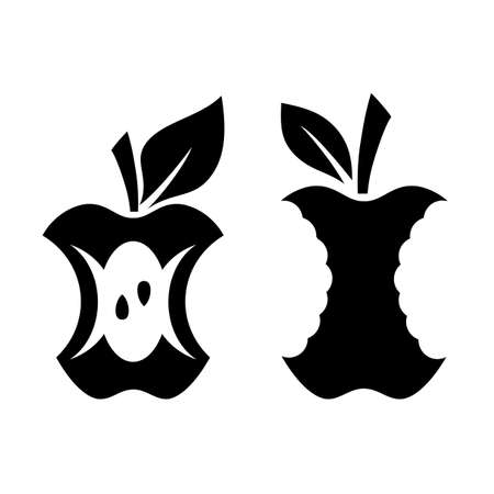 Set of bitten apples vector icon on white background Standard-Bild - 121512496