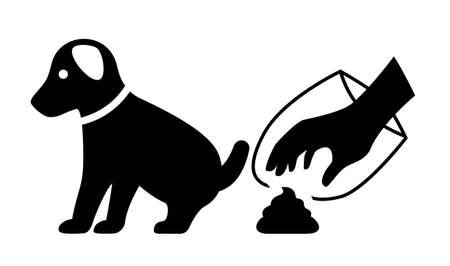 Limpiar después de su icono de vector de perro aislado sobre fondo blanco