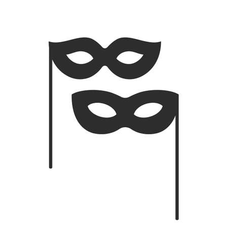Black carnival mask vector icon isolated on white background Illustration