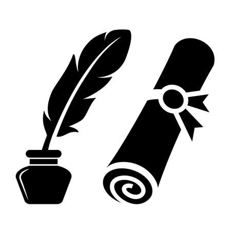 Writing feather and old rolled certificate vector icon on white background Illustration