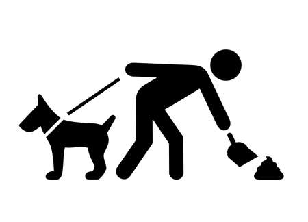 Limpiar después de su pictograma de vector de perro sobre fondo blanco Ilustración de vector