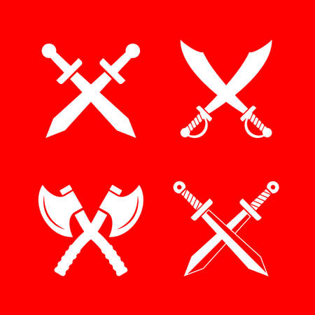 Heraldic vector retro emblems with weapon isolated on red background Stock Vector - 121515022