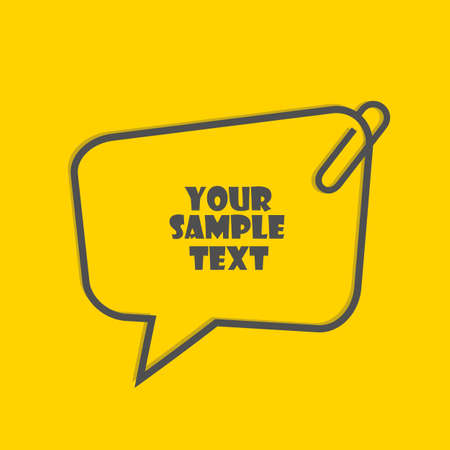 Text border template with paper clip isolated on yellow background Vector Illustration