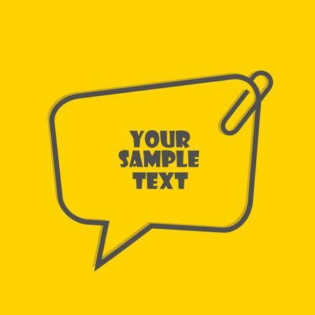 Textrahmenschablone mit Büroklammer lokalisiert auf gelbem Hintergrund Vektorgrafik
