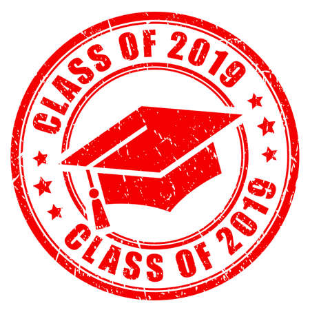 Class of 2019 vector stamp isolated on white background