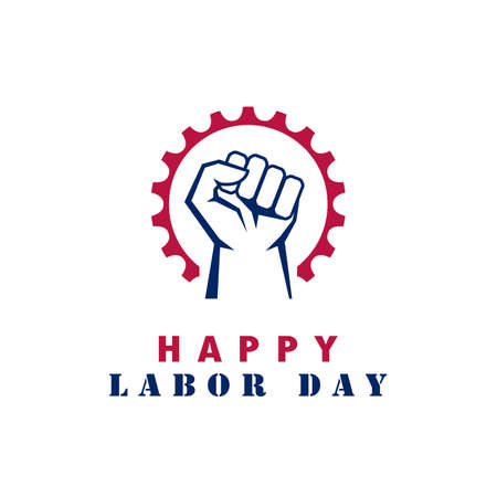 Happy labor day vector sign isolated on white background