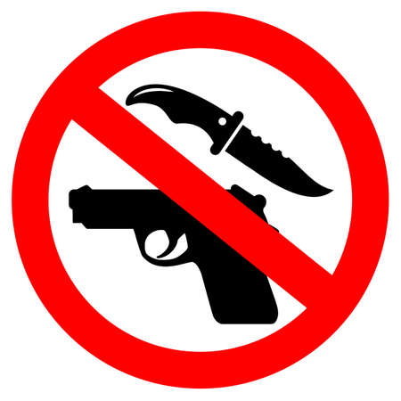 Nessuna icona di vettore di sicurezza delle armi isolata su sfondo bianco Vettoriali