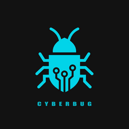 Computer bug vector icon isolated on black background