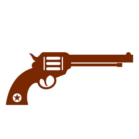 Old style revolver gun vector icon isolated on white background Illustration