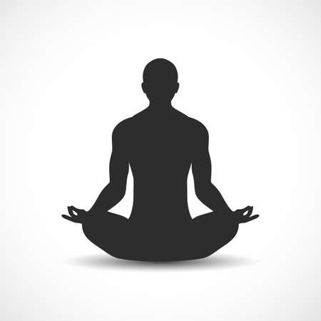 Meditating human figure vector icon isolated on white background