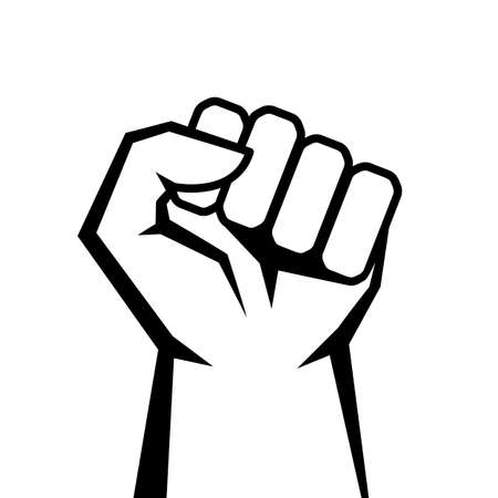 Strong raised fist vector icon isolated on white background