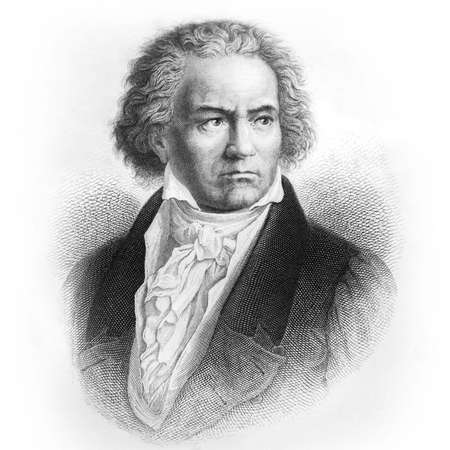 """Ludwig van Beethoven, German composer and pianist. Picture from Ch. Oeser's antique book """"Aesthetische Briefe"""" (Esthetic Letters). Published by Friedrich Brandstetter, Leipzig (1874) 에디토리얼"""