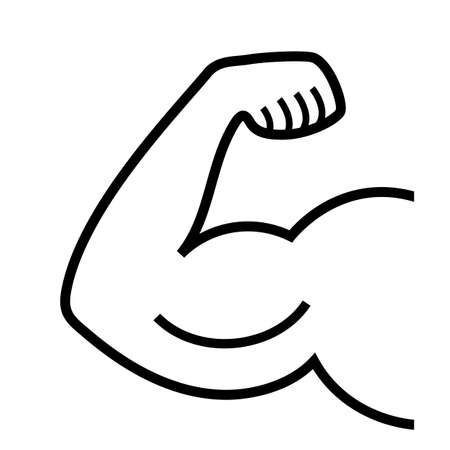 Biceps line vector icon isolated on white background