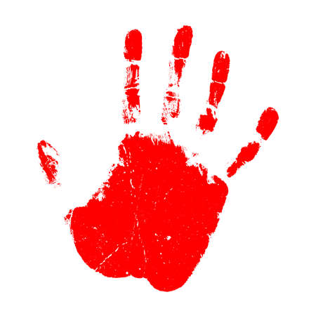 Red hand print vector icon isolated on white background Illustration