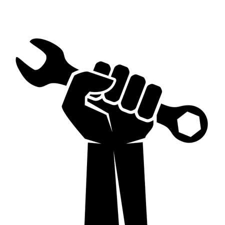 Mano con icona chiave inglese isolato su sfondo bianco