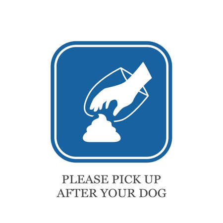 Please pick up after your dog vector sign isolated on white background Illustration
