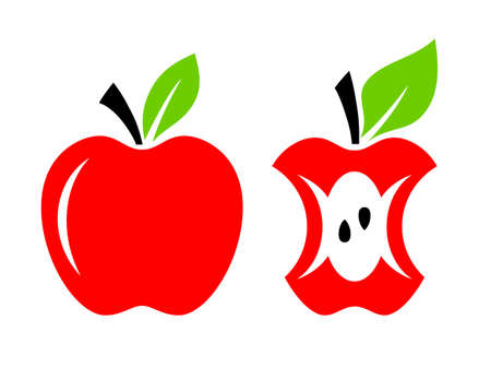 Red apple core vector cartoon on white background Illustration