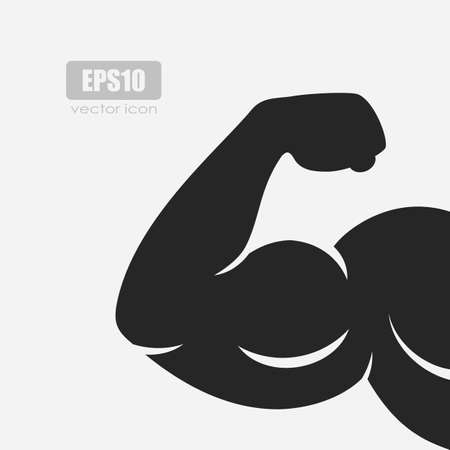 Biceps silhouette vector icon on white background