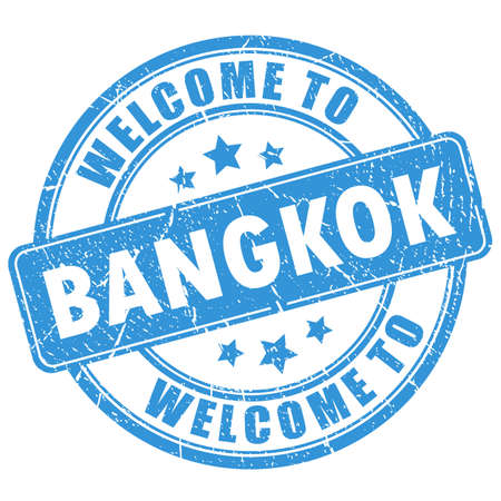 Blue stamp welcome to Bangkok isolated on white background Vetores