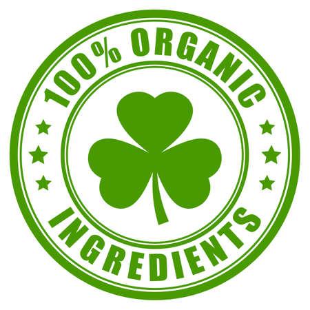 Bio-Zutaten grünes Etikett isoliert auf weißem Hintergrund