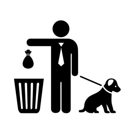 Perro y dueño con icono de vector de bolsa de basura aislado sobre fondo blanco