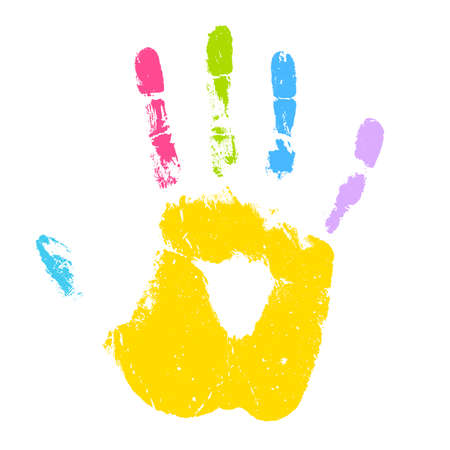 Colorful kid hand print vector icon isolated on white background