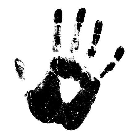 Human hand print silhouette vector icon isolated on white background