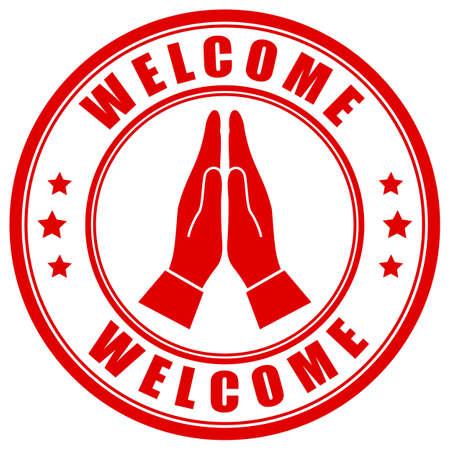 Signo de gesto de bienvenida asiático aislado sobre fondo blanco. Ilustración de vector