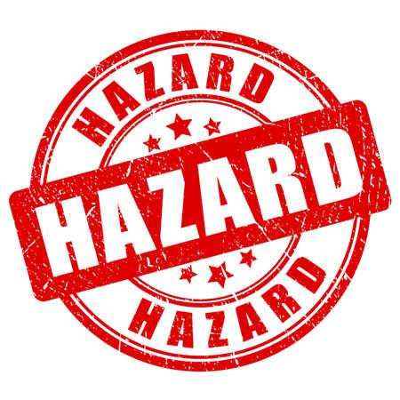 Red grunge hazard vector stamp isolated on white background Illustration