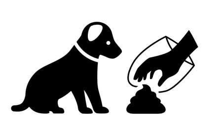 Nettoyer après votre icône de vecteur de chien isolé sur fond blanc