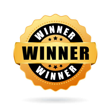 Gewinner-Gold-Vektor-Medaille isoliert auf weißem Hintergrund Vektorgrafik