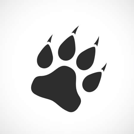 Paw silhouette vector icon isolated on white background