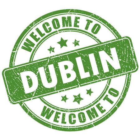 Bienvenido a sello de grunge de Dublín sobre fondo blanco Ilustración de vector