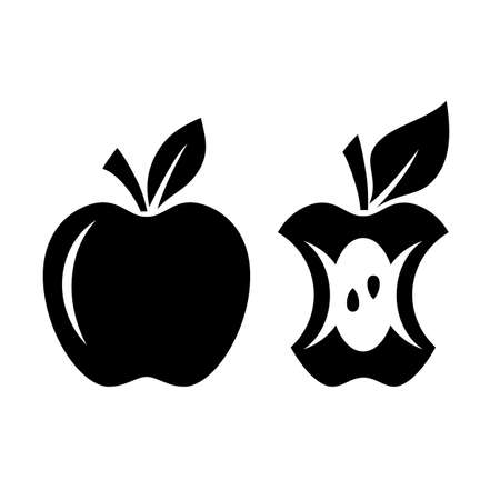 Apple vector silhouette and apple core icon on white background Illustration