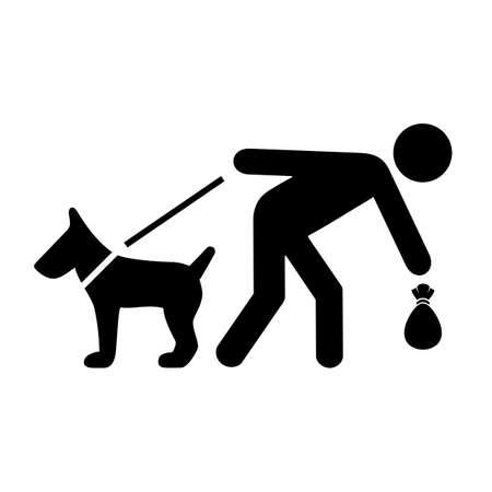 Bitte reinigen Sie nach Ihrem Hundevektorzeichen auf weißem Hintergrund Vektorgrafik
