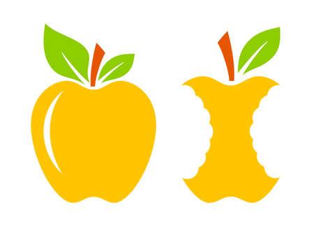 Yellow ripe apple and apple core icon on white background Standard-Bild - 126497021