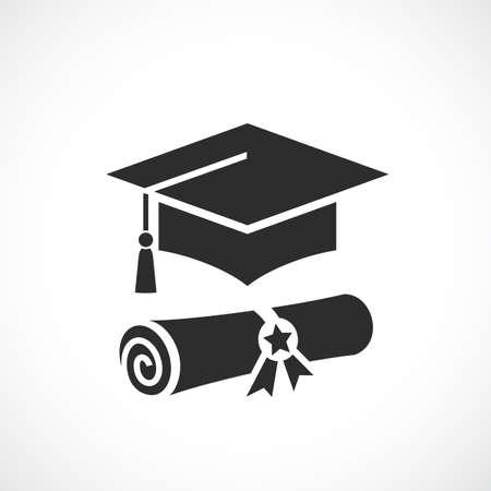 Icono de vector de birrete y diploma académico