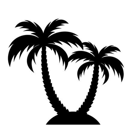 Tropical island with palm trees vector icon isolated on white background Illustration