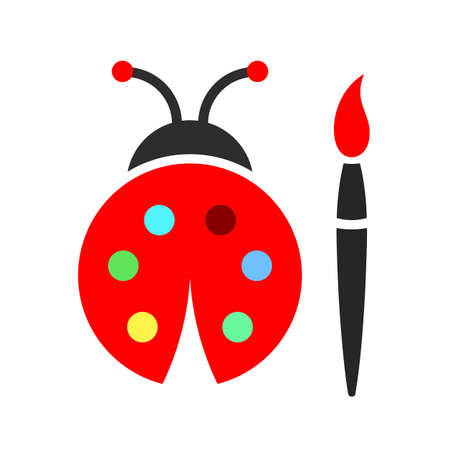 Lady bug and color palette vector icon on white background Ilustracja