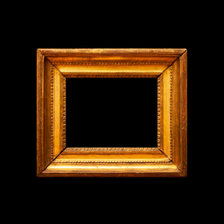 Old rustic picture frame on black background