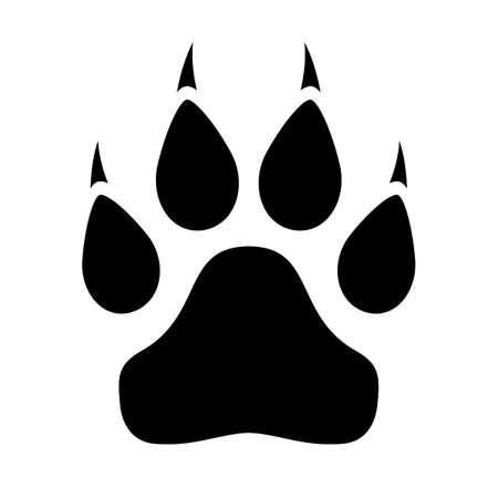 Icono de pata de animal con garras sobre fondo blanco