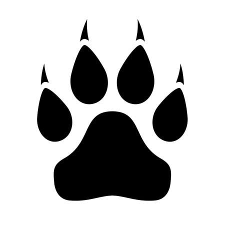 Animal paw icon with claws on white background Illustration