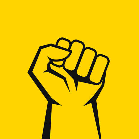 Fist line vector icon isolated on yellow background