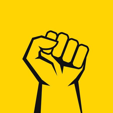 Icona di vettore di linea di pugno isolata su sfondo giallo