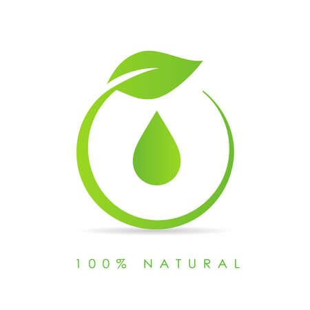 Natürliches Öltropfensymbol isoliert auf weißem Hintergrund
